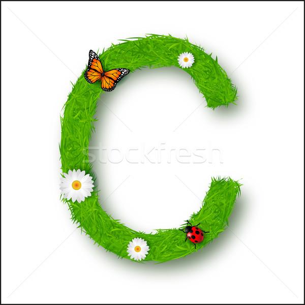 Erba lettera c bianco texture verde lettera Foto d'archivio © tigatelu