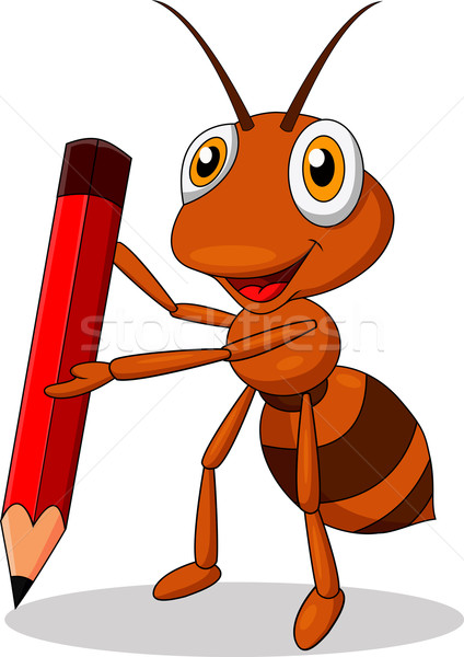 Ant cartoon rosso matite legno foresta Foto d'archivio © tigatelu