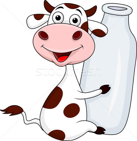 Foto stock: Engraçado · vaca · desenho · animado · garrafa · leite