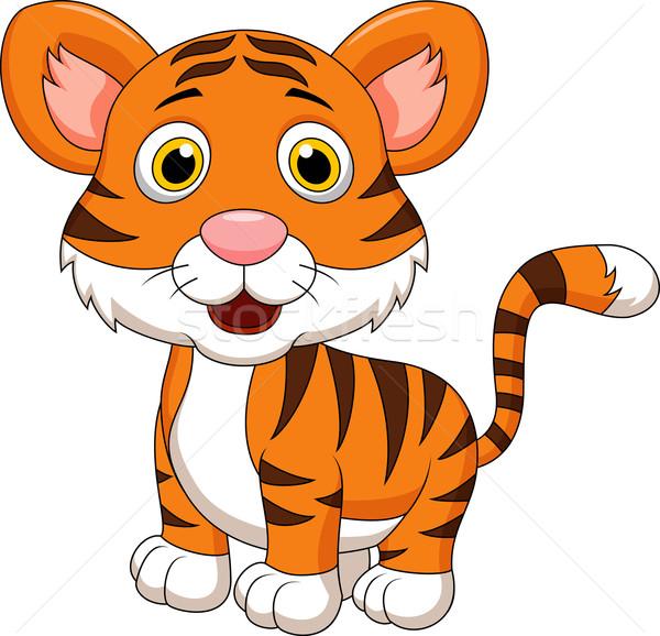 Сток-фото: Cute · ребенка · тигр · Cartoon · глаза · лес