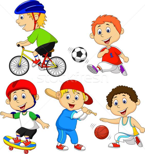 Funny Junge Zeichentrickfigur Sport Lacheln