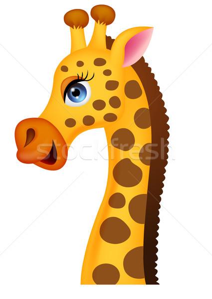 Zürafa Kafa Karikatür Yaprak Oyuncak Komik Vektör