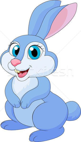Cute konijn cartoon poseren witte Pasen Stockfoto © tigatelu