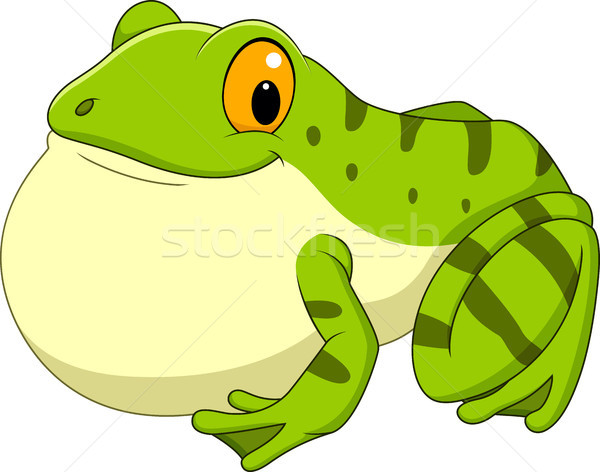 Cartoon green frog croaking Stock photo © tigatelu