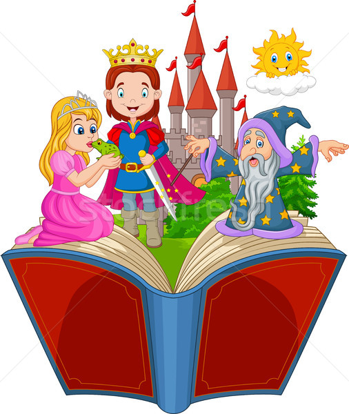 Cartoon Open boek kikker prins verhaal vrouw Stockfoto © tigatelu