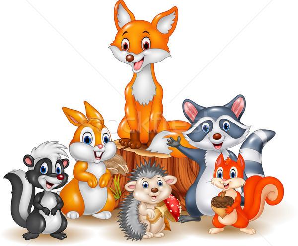 Cartoon happy wild animals Stock photo © tigatelu