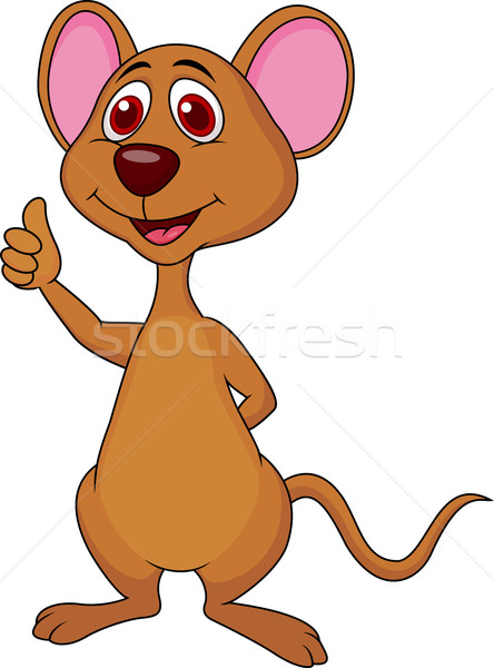 Cute mouse cartoon thumb up Stock photo © tigatelu
