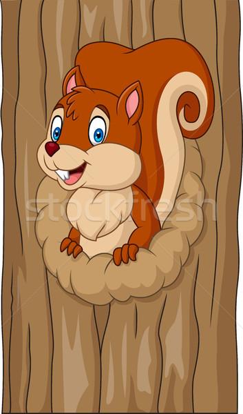 Cartoon scoiattolo albero buco casa felice Foto d'archivio © tigatelu