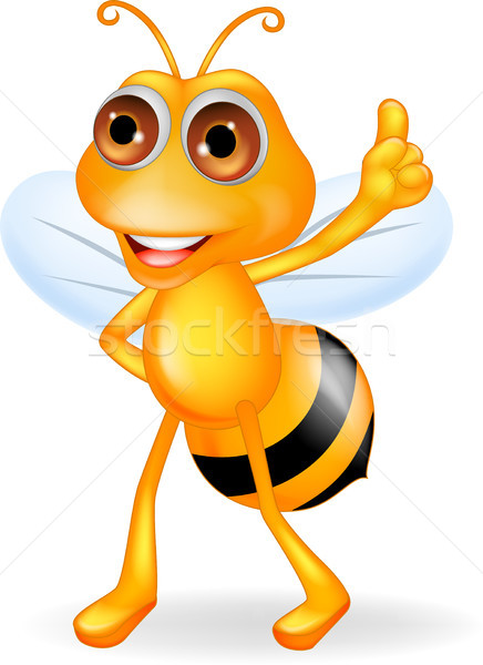 Bee cartoon thumb up Stock photo © tigatelu