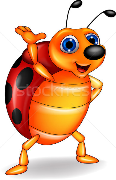 Funny ladybug cartoon waving Stock photo © tigatelu