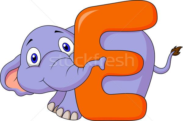 Alphabet E with elephant cartoon Stock photo © tigatelu