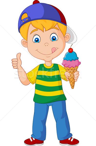 Cartoon мальчика мороженым продовольствие лице Сток-фото © tigatelu