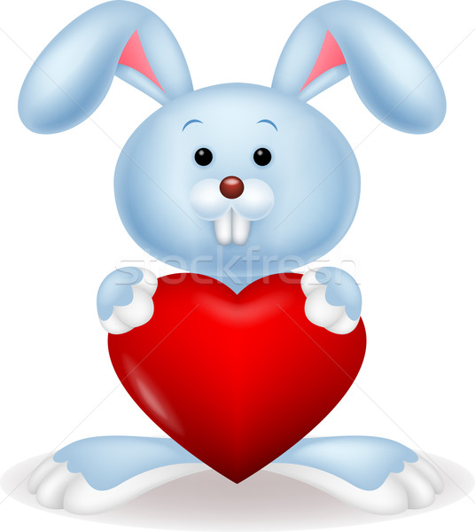 Funny bunny with red hart love Stock photo © tigatelu