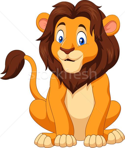 Cartoon happy lion sitting Stock photo © tigatelu