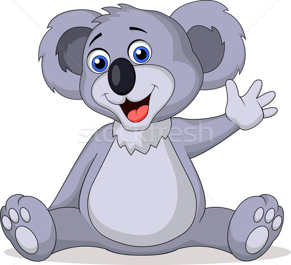 Cute koala cartoon waving hand Stock photo © tigatelu