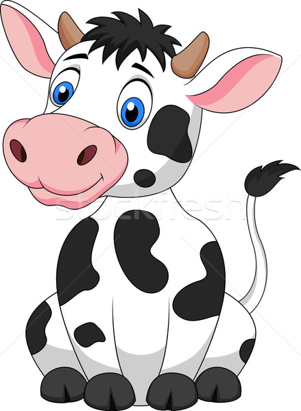 Cute cow cartoon sitting Stock photo © tigatelu