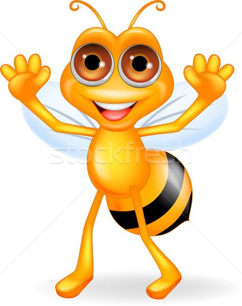 Stockfoto: Bee · cartoon · handen · hemel · gezicht