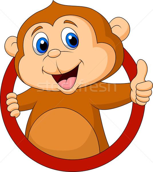 Cute обезьяны большой палец руки вверх улыбка счастливым Сток-фото © tigatelu