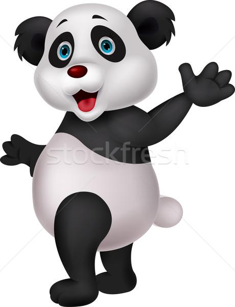 Stock photo: Cute panda cartoon waving hand