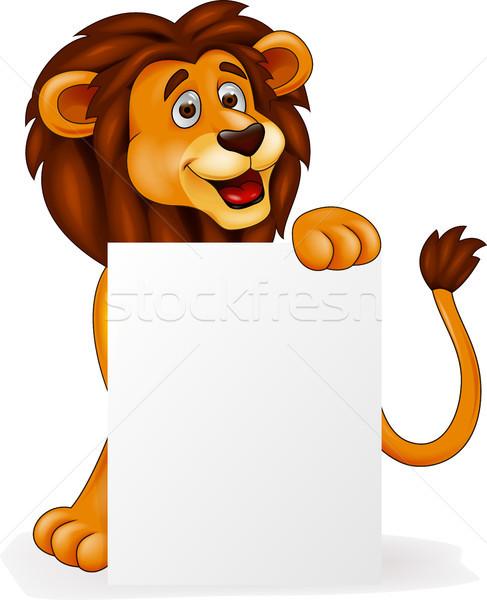 Lion cartoon with blank sign Stock photo © tigatelu
