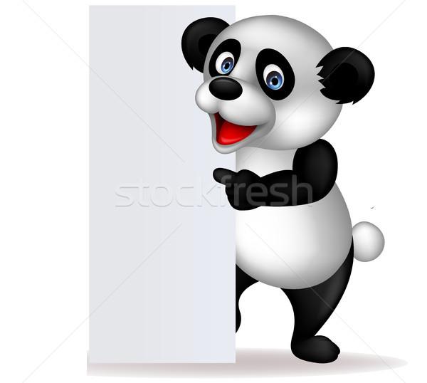 Stock fotó: Panda · rajz · üres · tábla · baba · arc · boldog