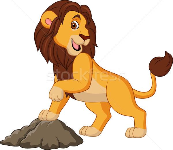 Cartoon sorridere leone posa foresta divertimento Foto d'archivio © tigatelu