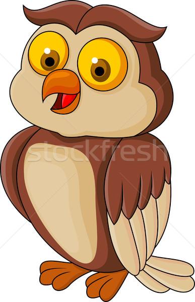 Funny owl cartoon Stock photo © tigatelu