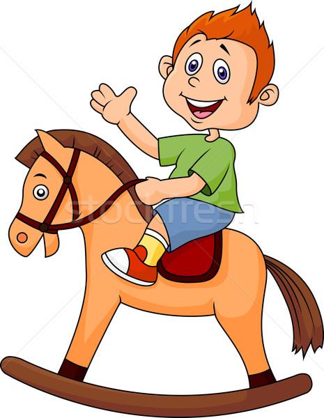 Stockfoto: Weinig · jongen · speelgoed · paard · leuk · kleur