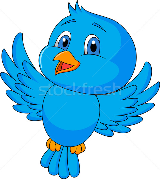 Cute blue bird flying Stock photo © tigatelu