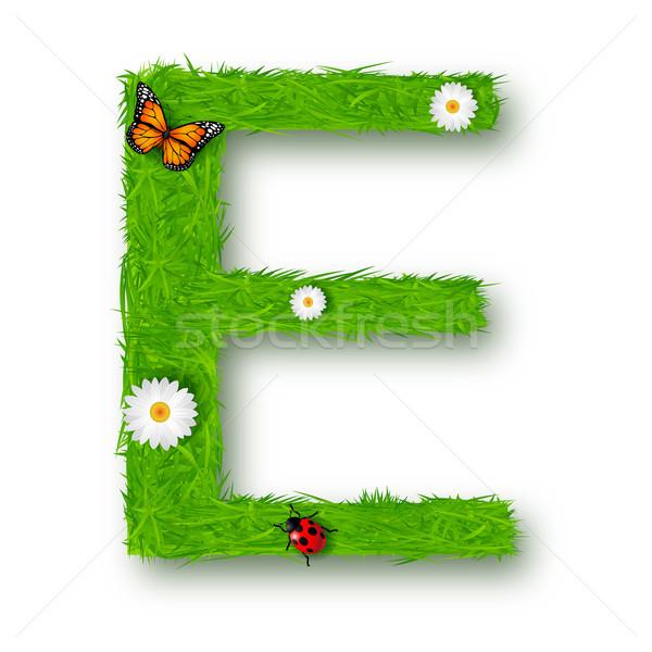 Grass Letter E on white background  Stock photo © tigatelu