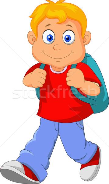 Piccolo ragazzo piedi isolato bianco scuola Foto d'archivio © tigatelu