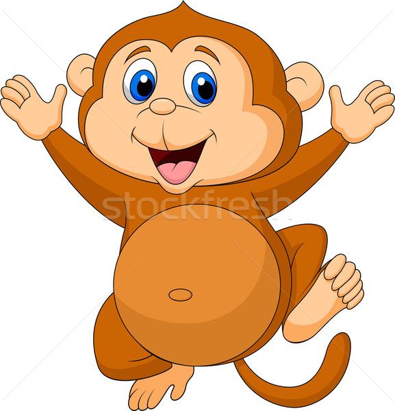 Cute monkey cartoon waving Stock photo © tigatelu
