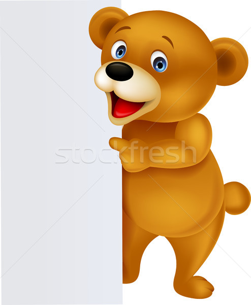 Bear cartoon with blank sign Stock photo © tigatelu