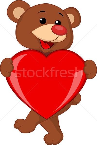 Beer cartoon liefde hart gelukkig kind Stockfoto © tigatelu