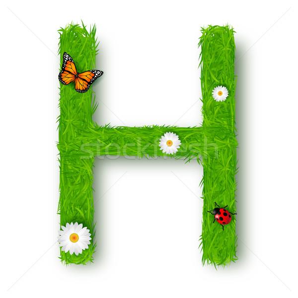 Grass Letter H on white background  Stock photo © tigatelu