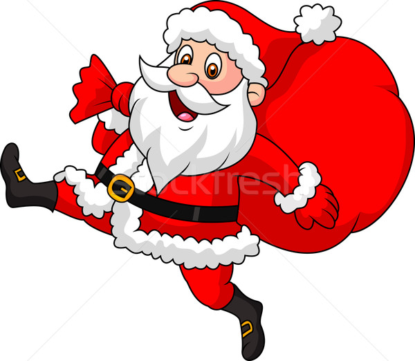 Santa Claus running with the bag of the presents Stock photo © tigatelu