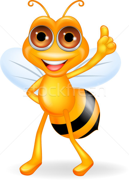Abeille cartoon pouce up sourire visage Photo stock © tigatelu