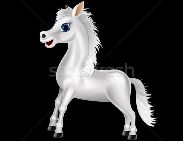 Fehér ló rajz mosoly jókedv fut erő Stock fotó © tigatelu