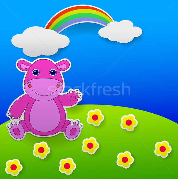 Paper cut out illustration, greeting card with funny hippo waving hand Stock photo © tigatelu