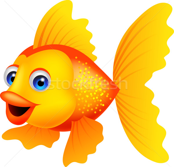 Cute golden fish cartoon Stock photo © tigatelu