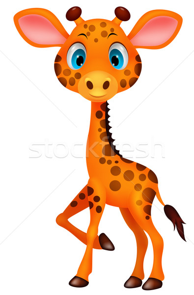 Drăguţ Copil Girafă Desen Animat Distracţie