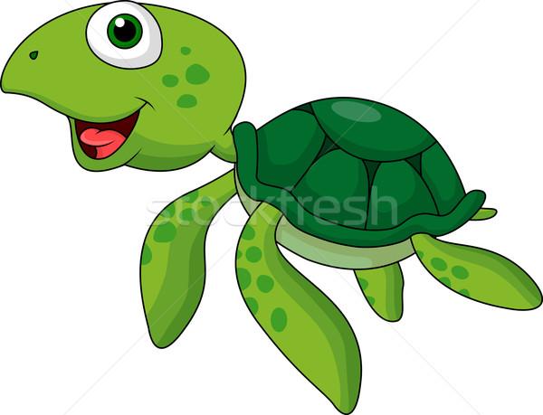 Bonitinho mar tartaruga desenho animado água sorrir Foto stock © tigatelu