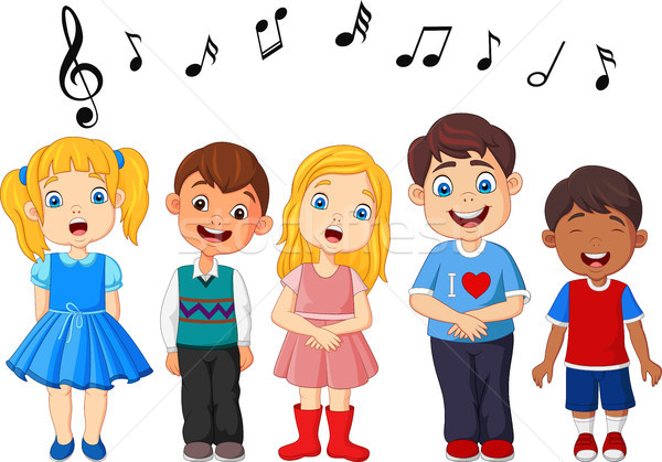 Cartoon group of children singing in the school choir Stock photo © tigatelu