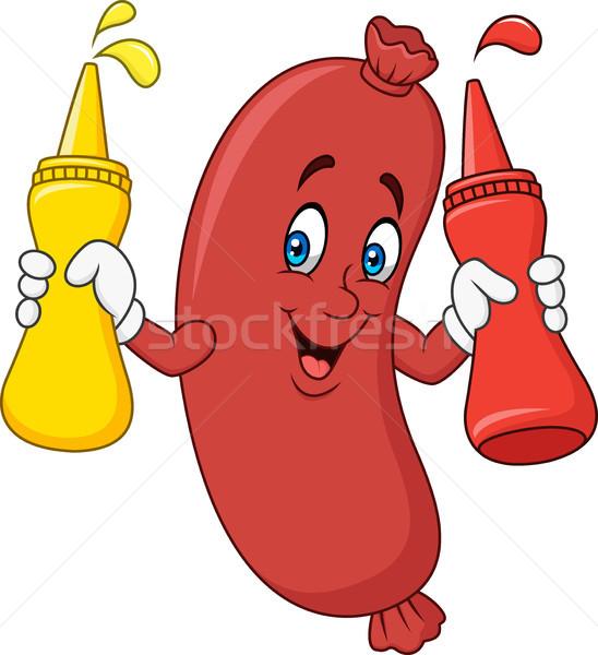 Cartoon sausage with mustard sauce, ketchup squeeze bottles Stock photo © tigatelu