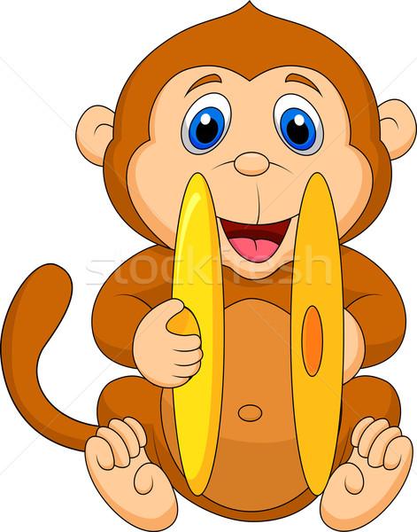 Sevimli maymun karikatür oynama zil müzik Stok fotoğraf © tigatelu