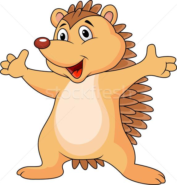 Ouriço desenho animado ilustração bebê jovem animal Foto stock © tigatelu