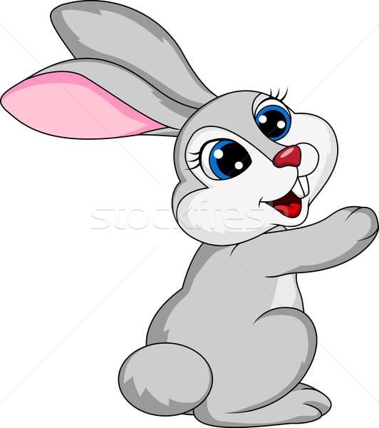 Cute кролик Cartoon белый счастливым природы Сток-фото © tigatelu