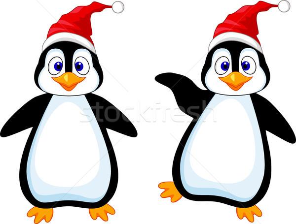 смешные пингвин Cartoon счастливым глазах оранжевый Сток-фото © tigatelu