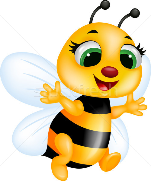 Funny abeja Cartoon sonrisa cara feliz Foto stock © tigatelu