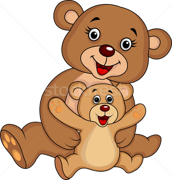 Zdjęcia stock: Matka · baby · ponosi · cartoon · strony · szczęśliwy